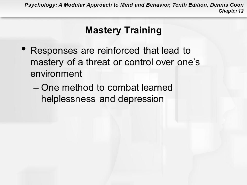 Mastery Training Responses are reinforced that lead to mastery of a threat or control over one's environment.