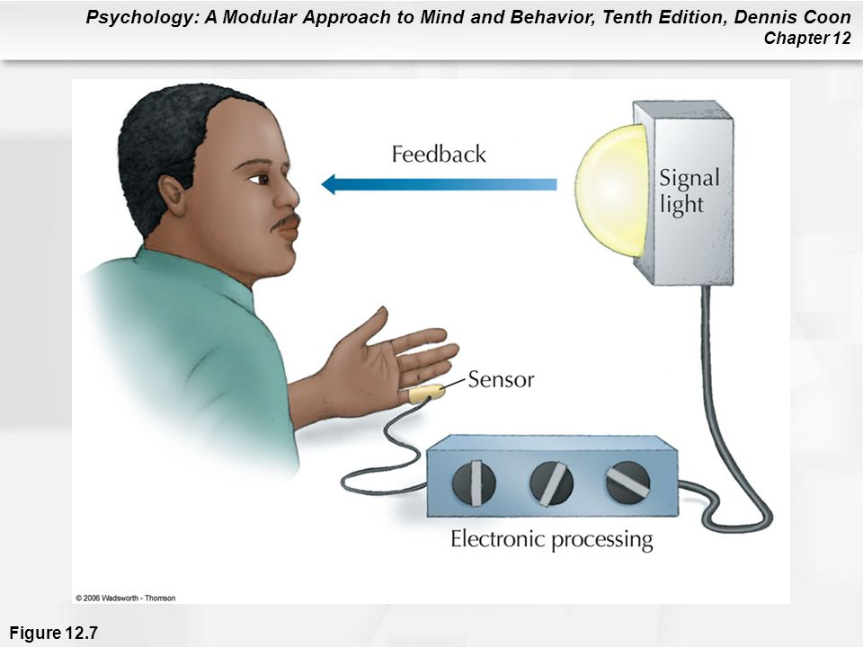 Figure 12.7 In biofeedback training, bodily processes are monitored and processed electronically. A signal is then routed back to the patient through headphones, signal lights, or other means. This information helps the patient alter bodily activities not normally under voluntary control.