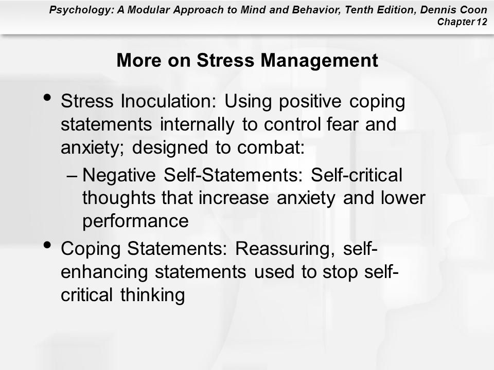 More on Stress Management