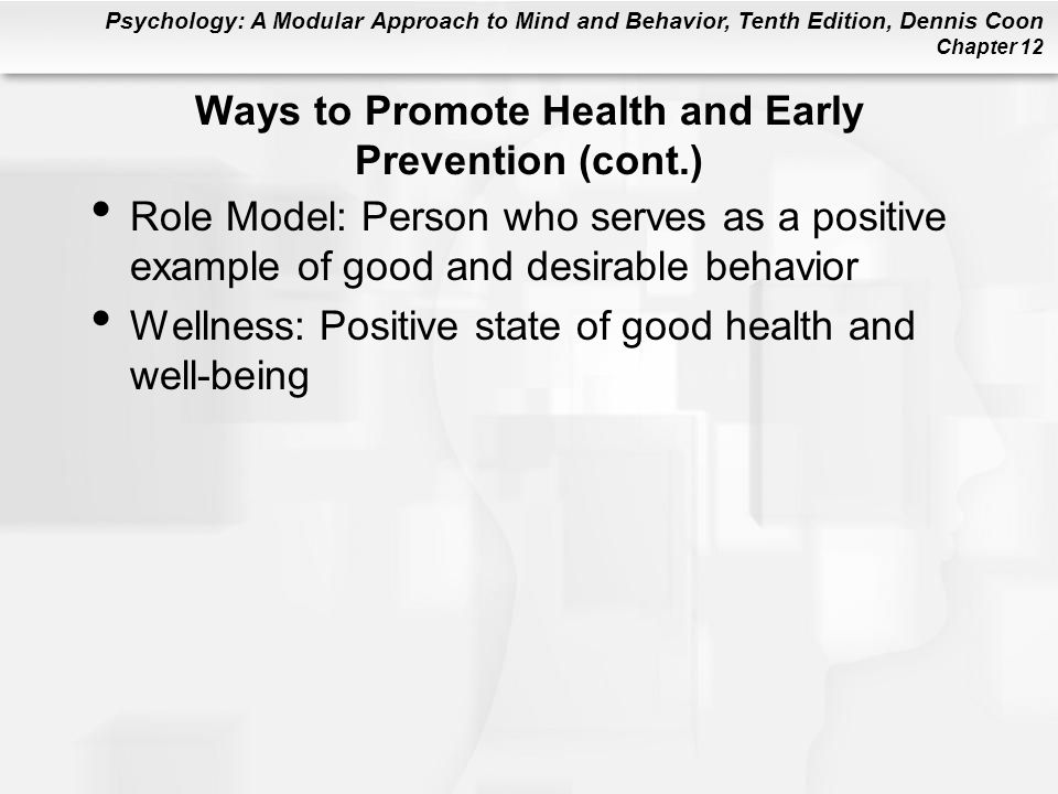 Ways to Promote Health and Early Prevention (cont.)