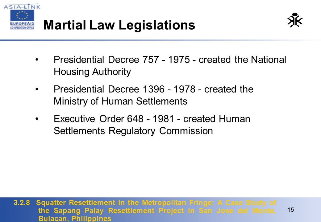 Martial Law Legislations