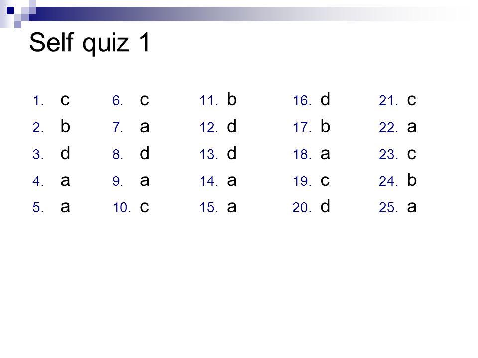 Self quiz 1 c b d a c a d b d a d b a c c a b