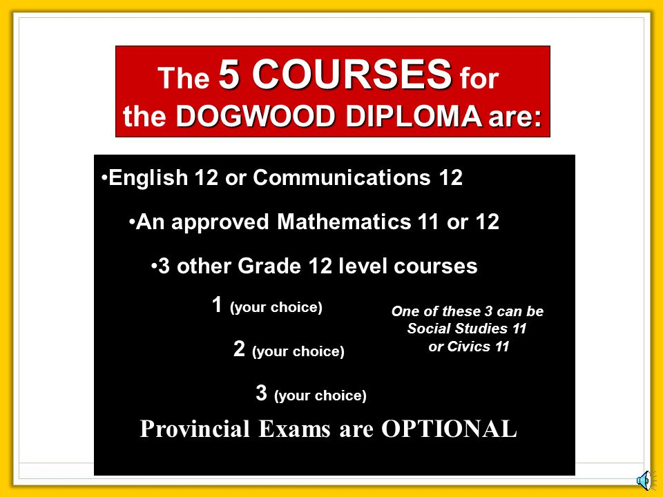 the DOGWOOD DIPLOMA are: One of these 3 can be Social Studies 11