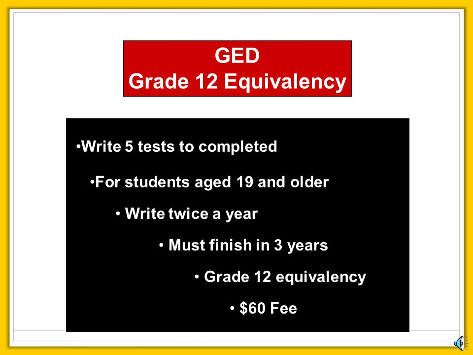 GED Grade 12 Equivalency Write 5 tests to completed