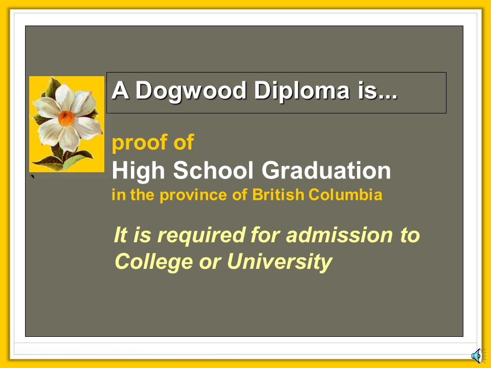 ` A Dogwood Diploma is... proof of High School Graduation in the province of British Columbia.