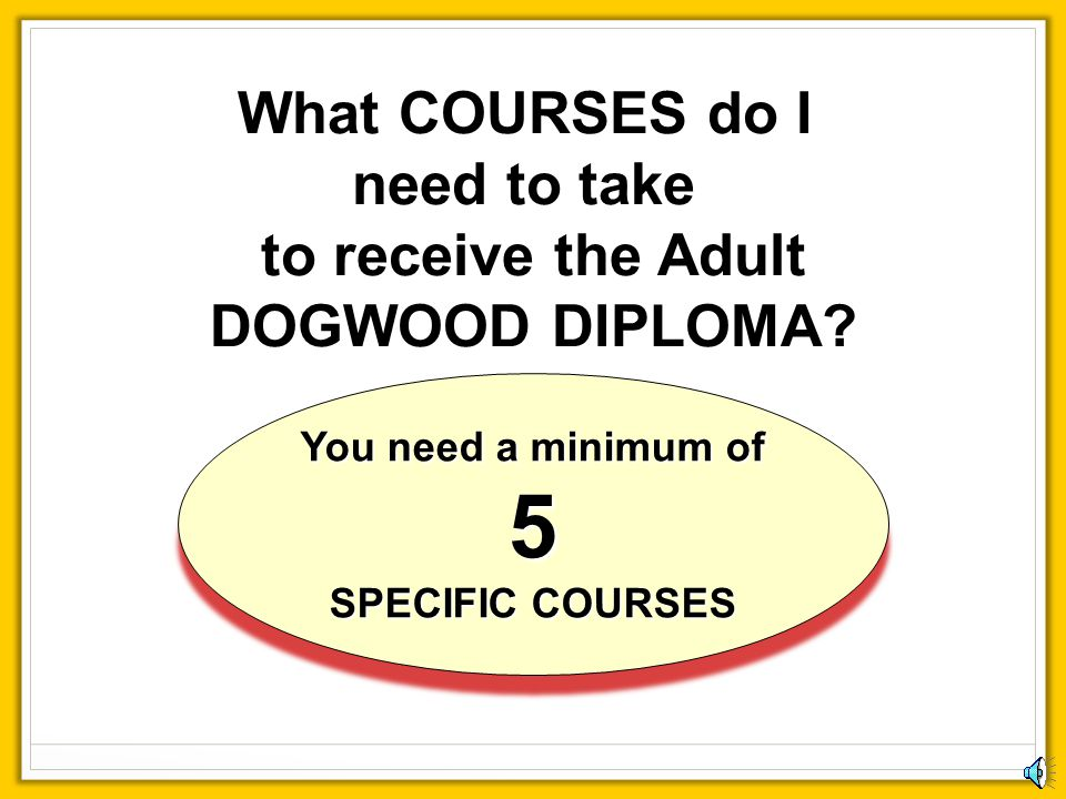 You need a minimum of 5 SPECIFIC COURSES