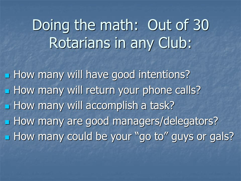 Doing the math: Out of 30 Rotarians in any Club: