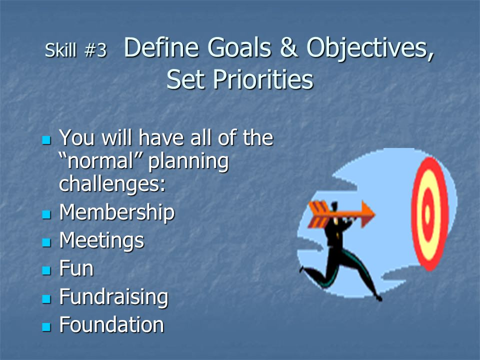 Skill #3 Define Goals & Objectives, Set Priorities