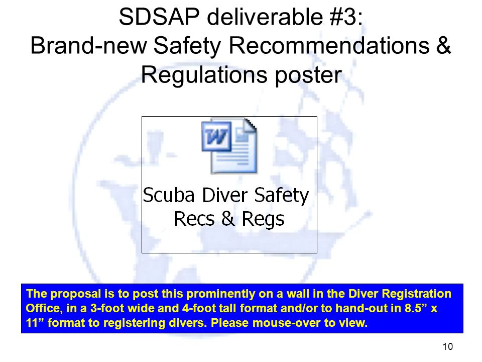 SDSAP deliverable #3: Brand-new Safety Recommendations & Regulations poster