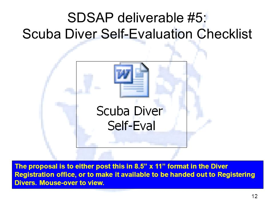 SDSAP deliverable #5: Scuba Diver Self-Evaluation Checklist
