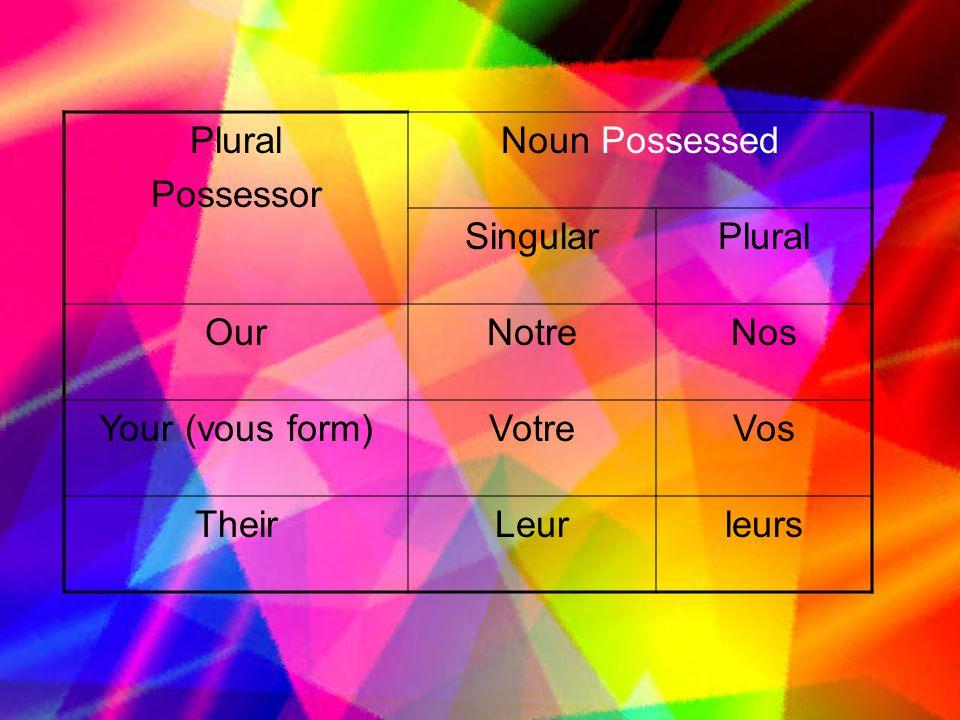 Plural Possessor Noun Possessed Singular Our Notre Nos Your (vous form) Votre Vos Their Leur leurs