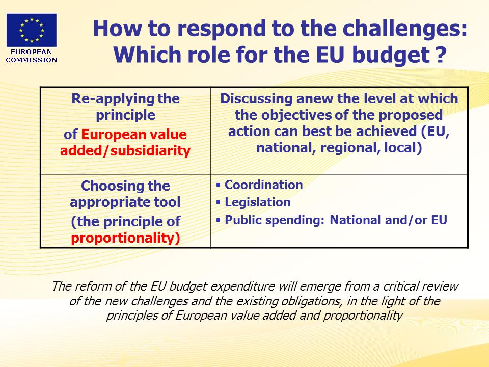 How to respond to the challenges: Which role for the EU budget