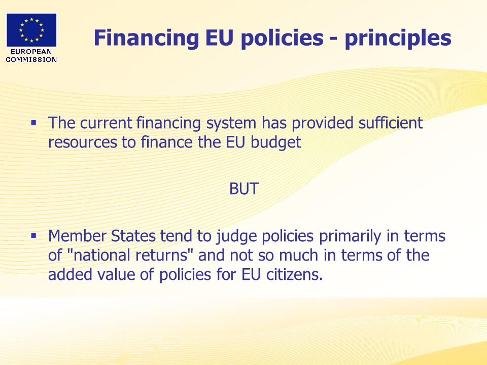 Financing EU policies - principles