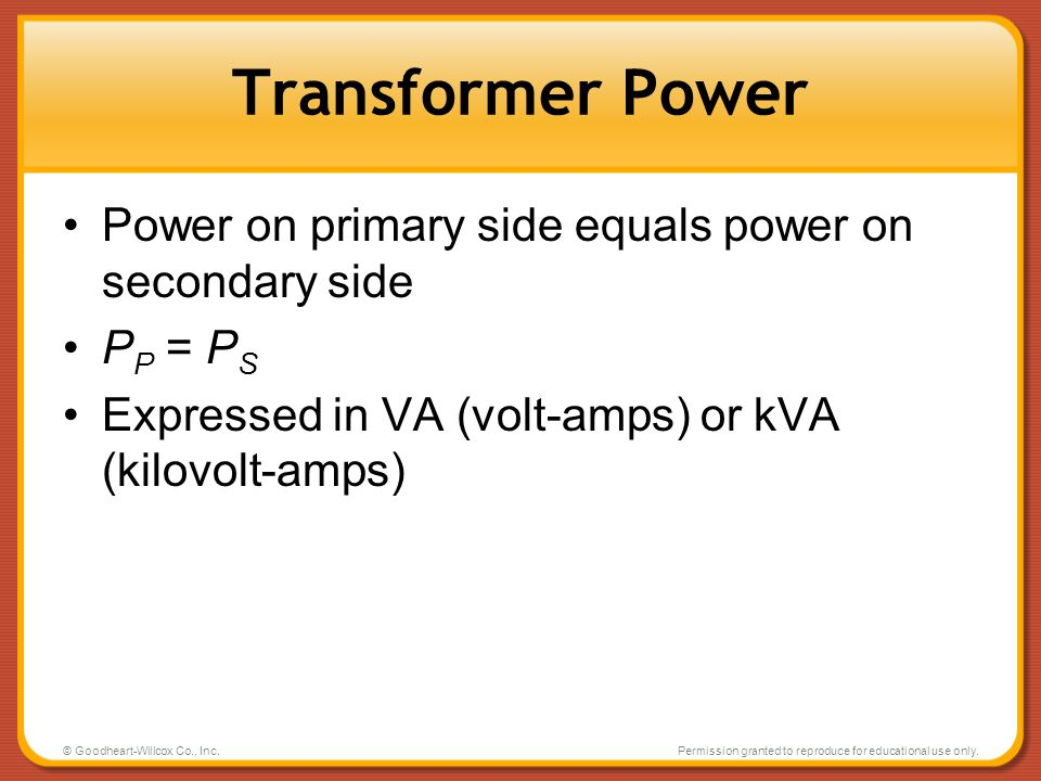 Transformer Power Power on primary side equals power on secondary side