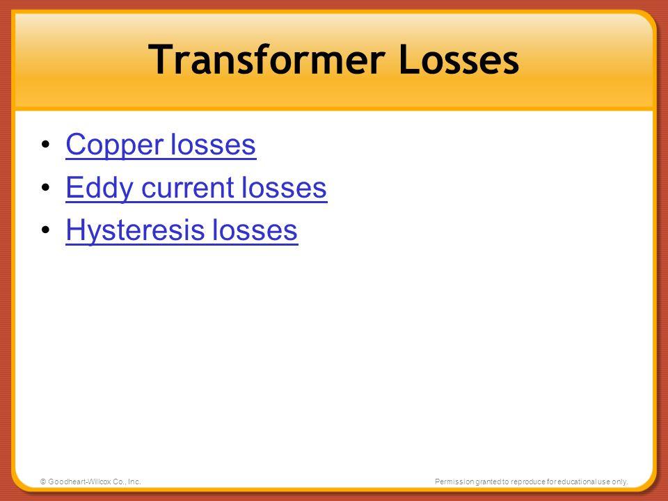 Transformer Losses Copper losses Eddy current losses Hysteresis losses
