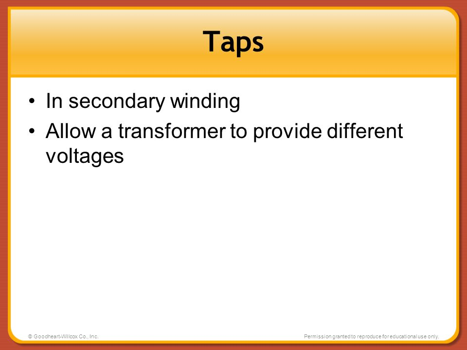 Taps In secondary winding