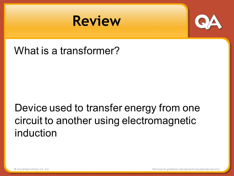 Review What is a transformer