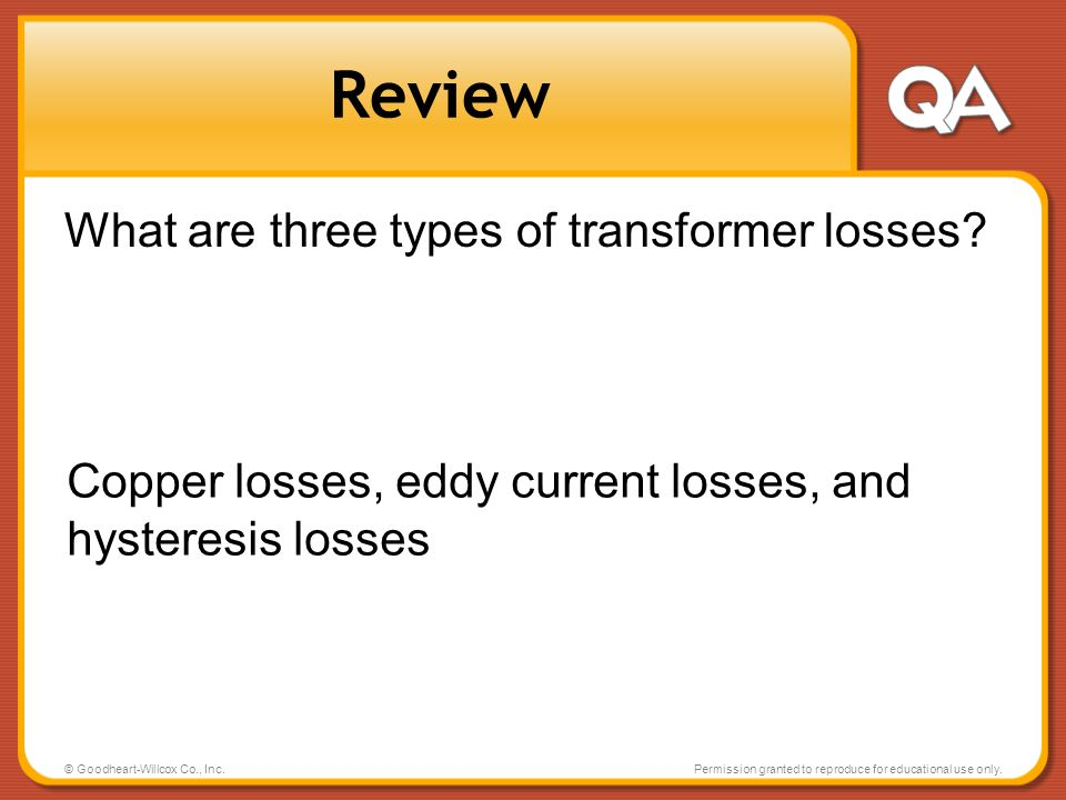 Review What are three types of transformer losses