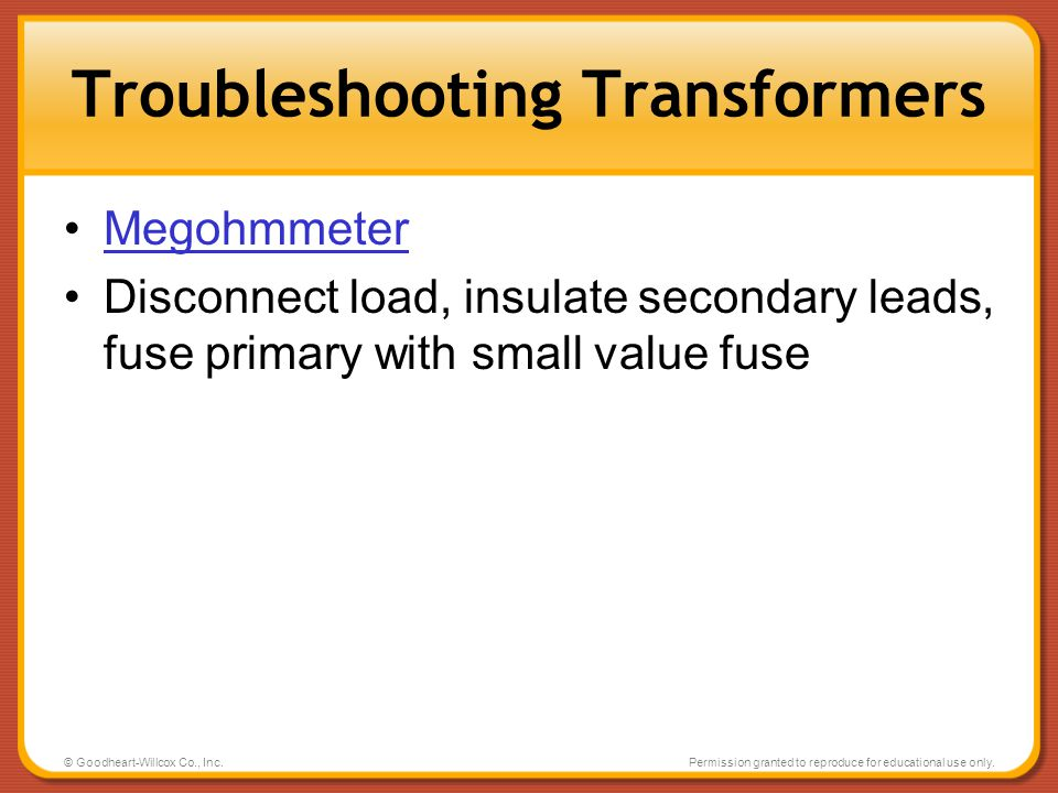 Troubleshooting Transformers
