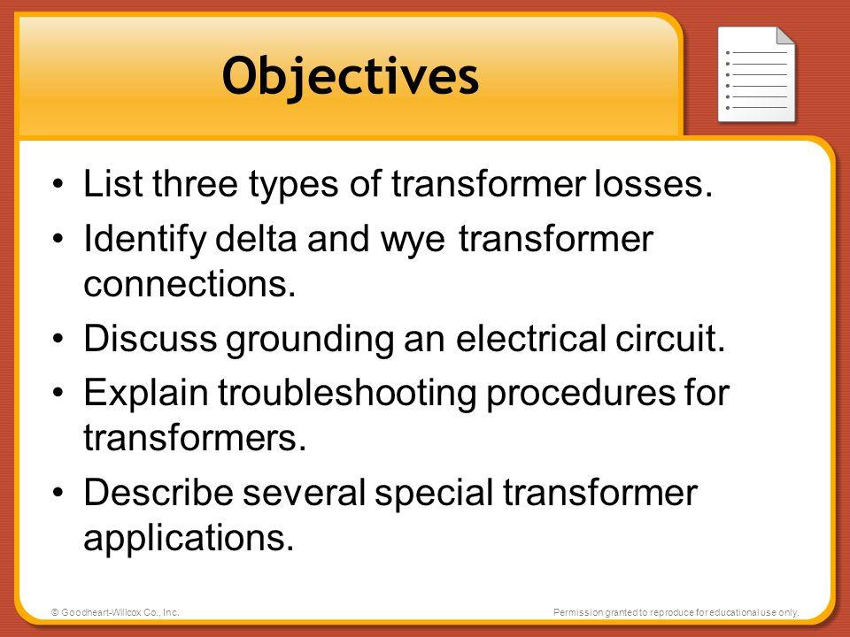 Objectives List three types of transformer losses.