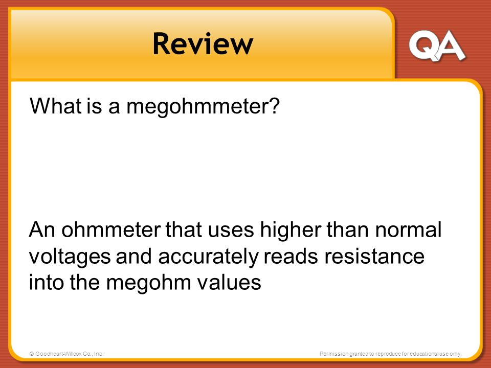 Review What is a megohmmeter