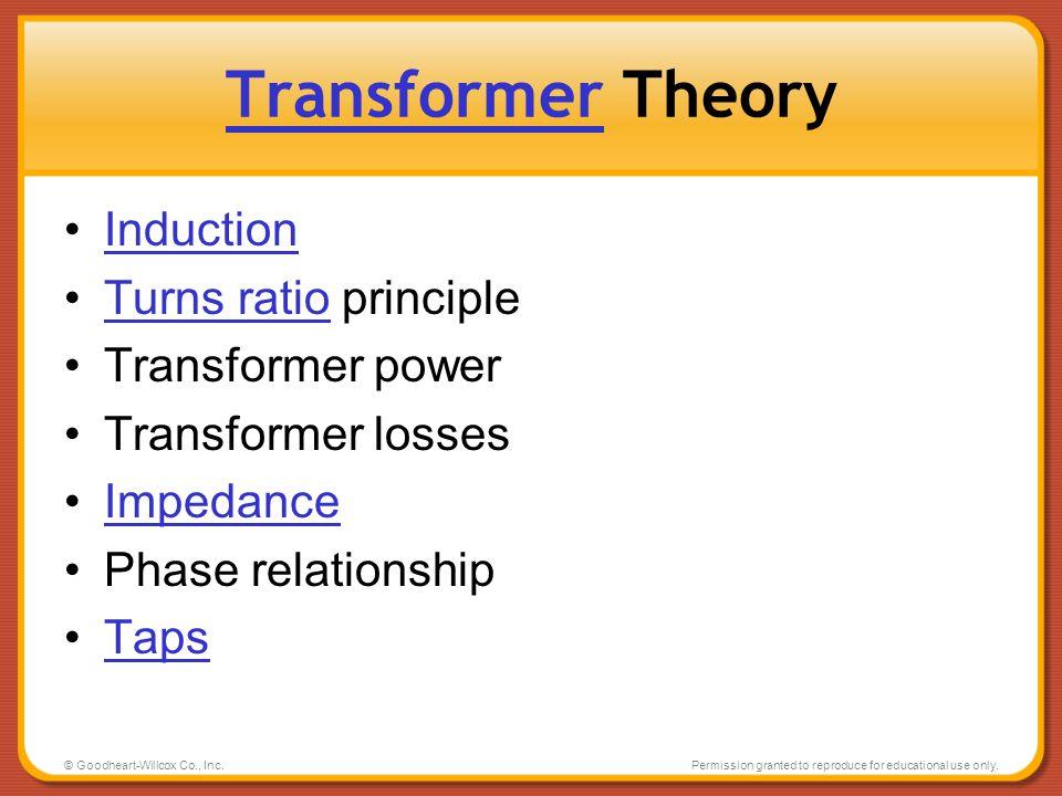 Transformer Theory Induction Turns ratio principle Transformer power