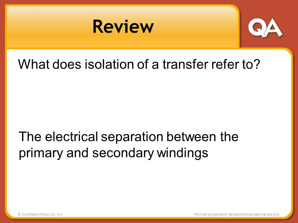 Review What does isolation of a transfer refer to