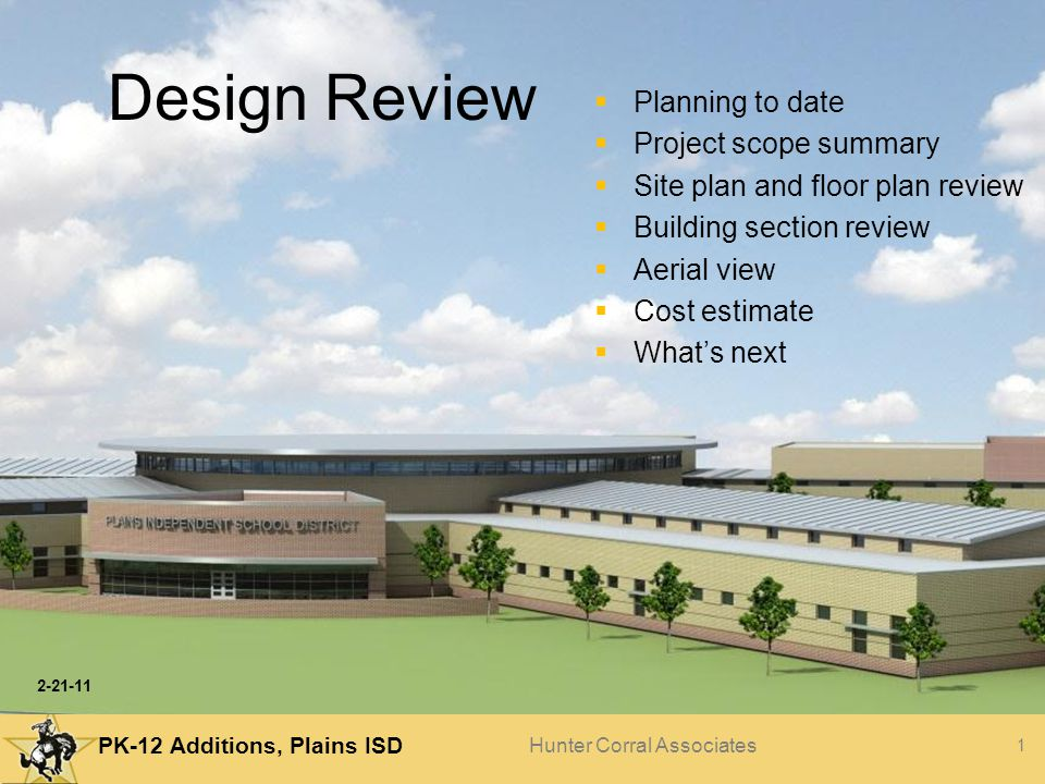 Design Review Planning to date Project scope summary