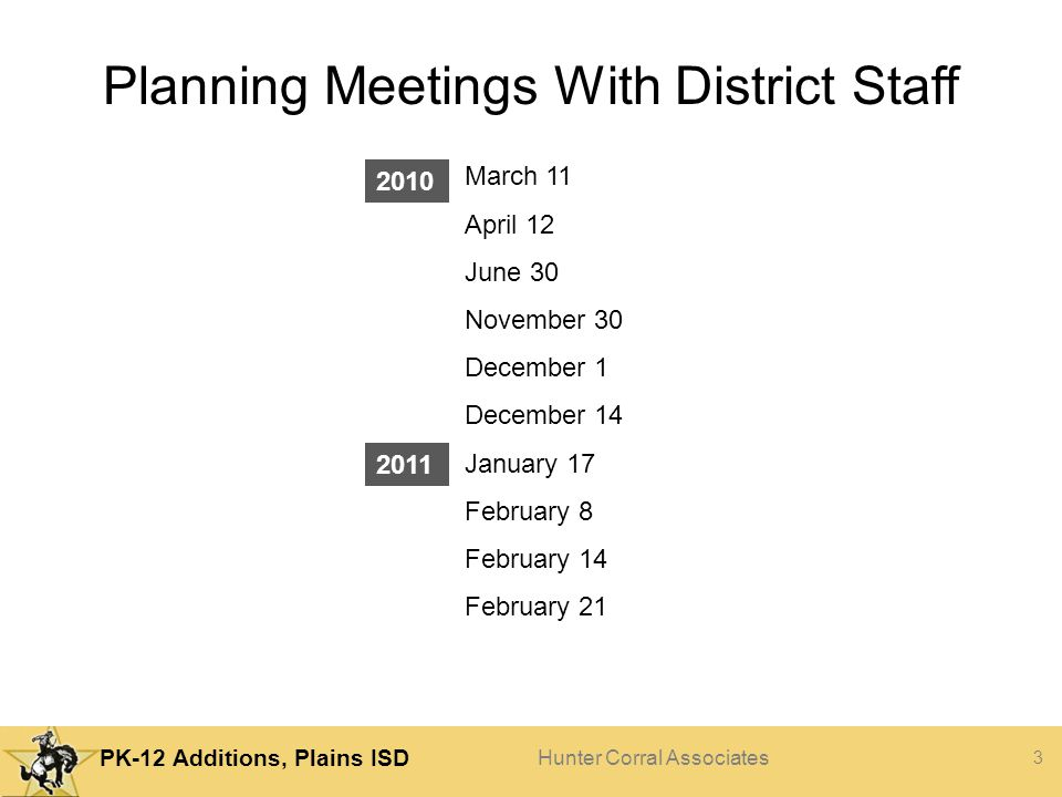 Planning Meetings With District Staff
