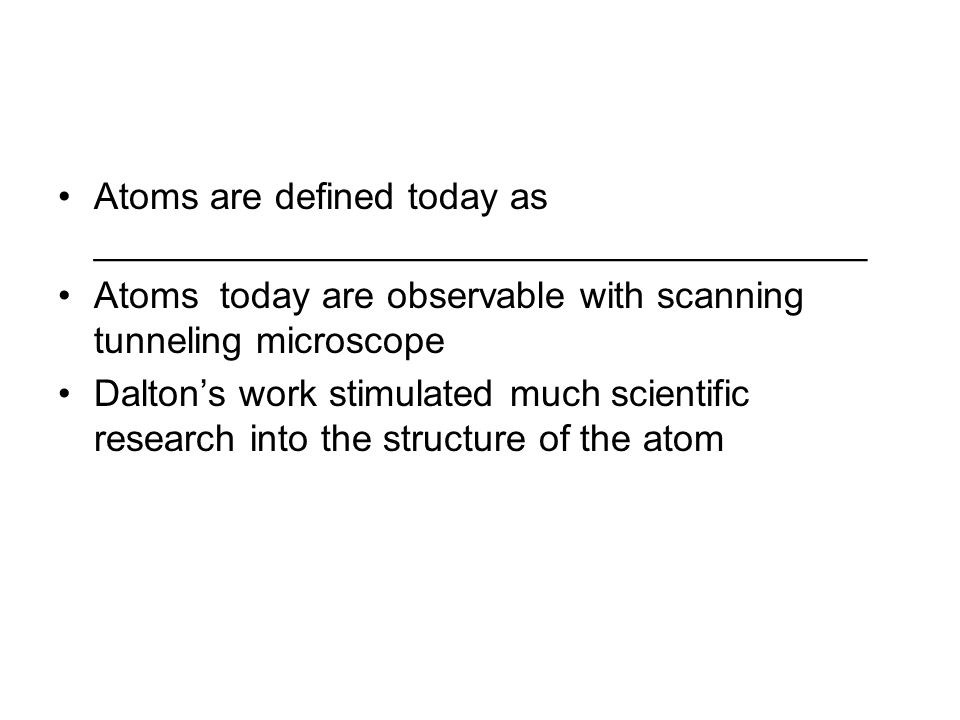 Atoms are defined today as _____________________________________