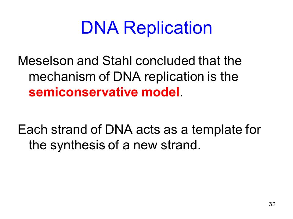 DNA Replication Meselson and Stahl concluded that the mechanism of DNA replication is the semiconservative model.