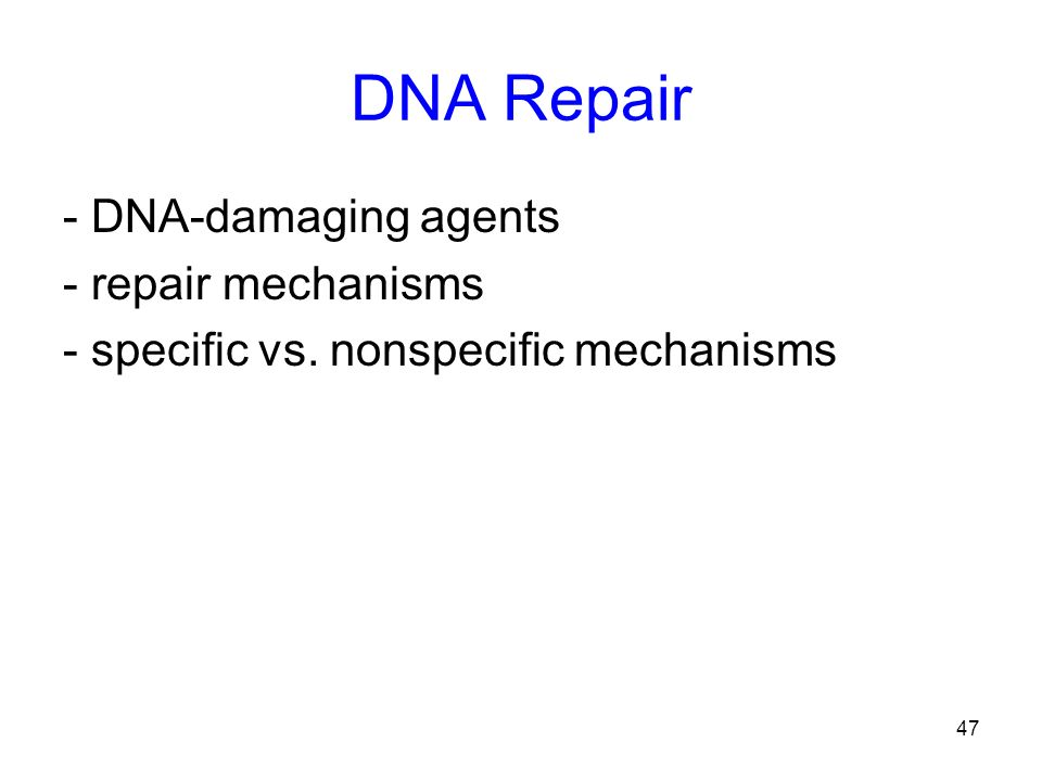 DNA Repair - DNA-damaging agents - repair mechanisms