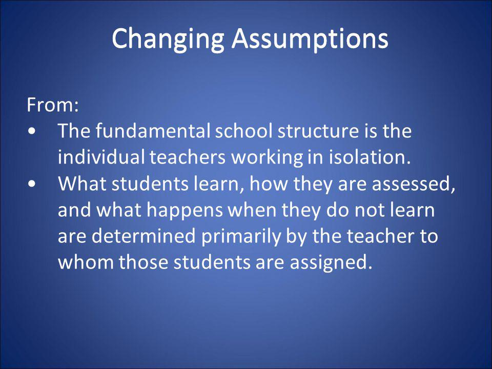 Changing Assumptions From: