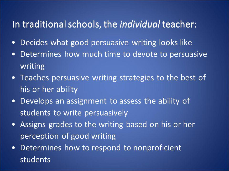 In traditional schools, the individual teacher: