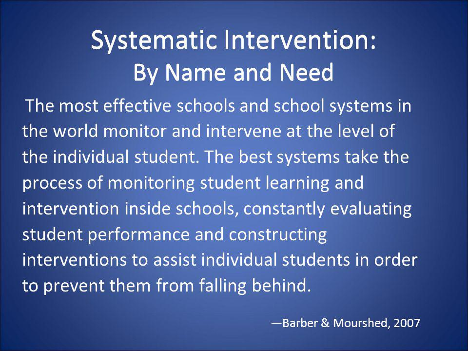 Systematic Intervention: By Name and Need