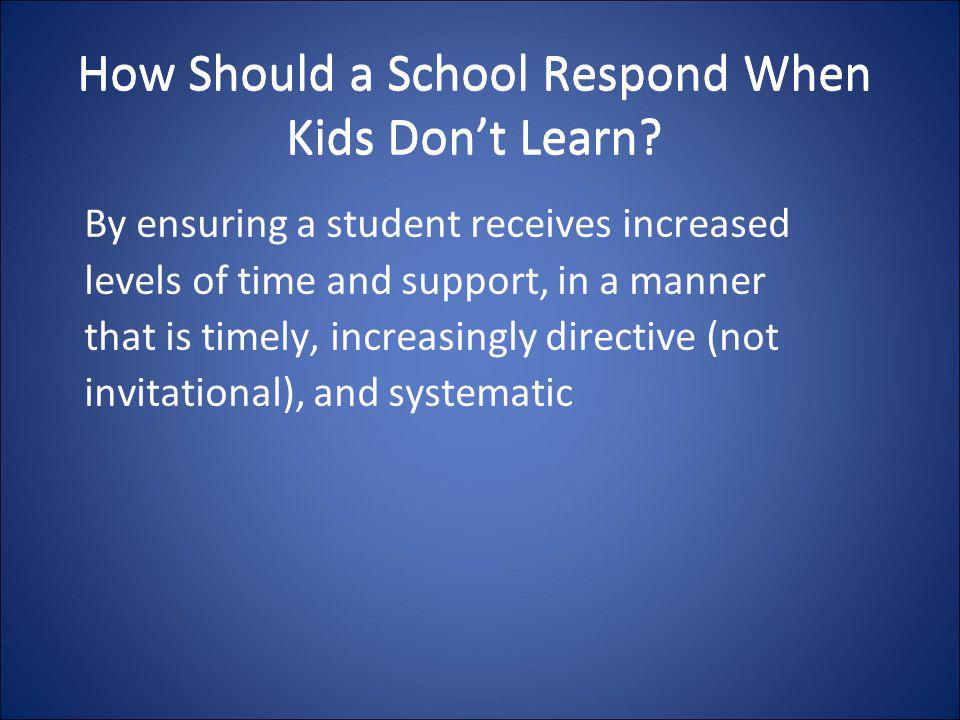 How Should a School Respond When Kids Don't Learn