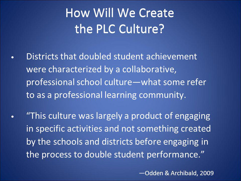 How Will We Create the PLC Culture