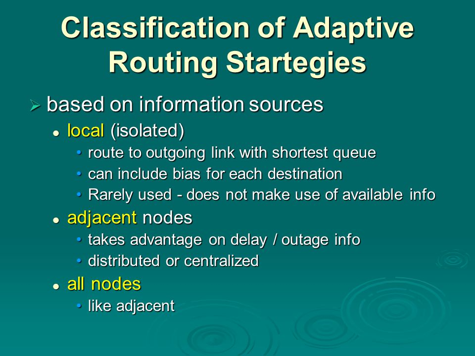 Classification of Adaptive Routing Startegies