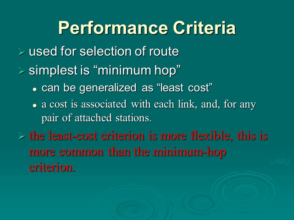 Performance Criteria used for selection of route