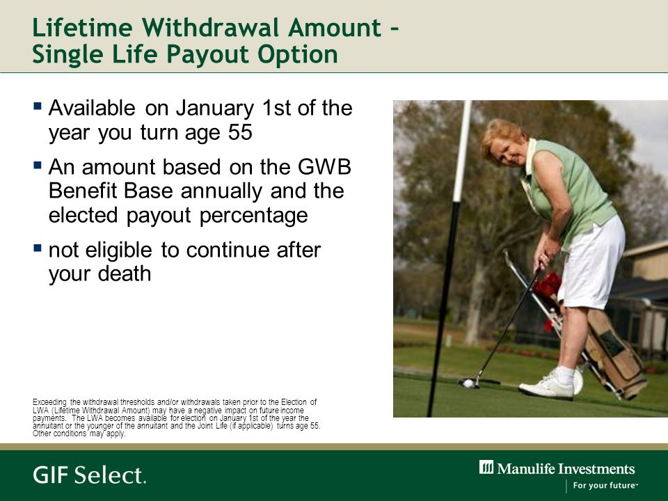 Lifetime Withdrawal Amount – Single Life Payout Option
