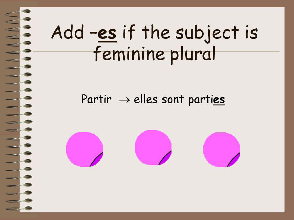 Add –es if the subject is feminine plural