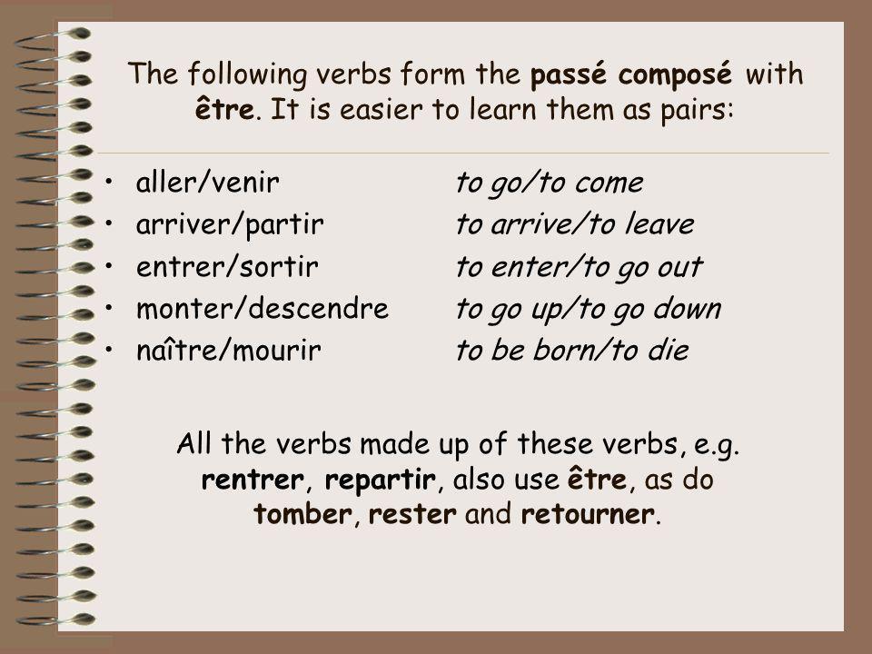The following verbs form the passé composé with être