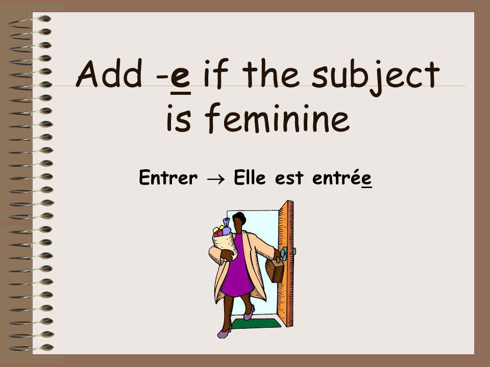 Add -e if the subject is feminine