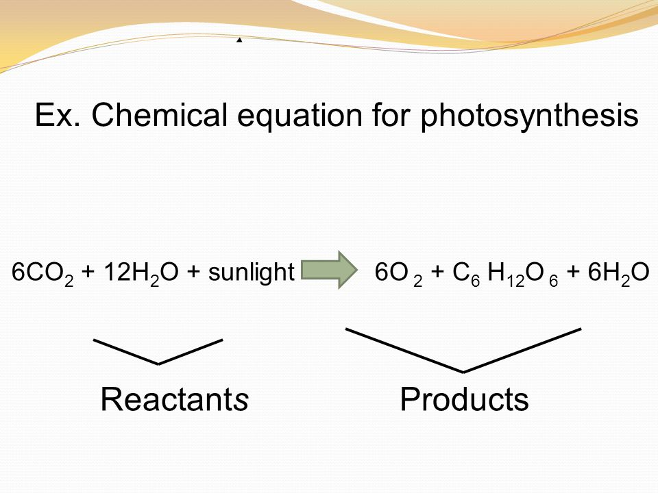 chemical equation for photsynthesis The reactants for photosynthesis are 6 carbon dioxide, 6 water and sunlight the mass of these reactants adds to equal the mass of the products, which are 1 glucose and 6 oxygen there are equal amounts of each atom on both sides of the chemical equation.