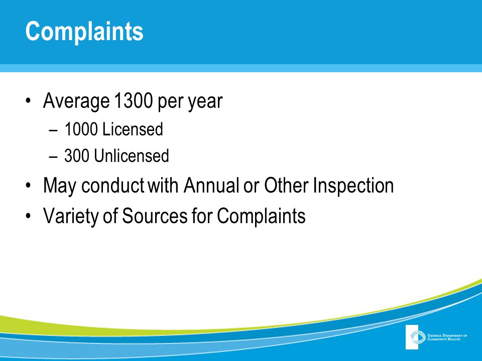 Complaints Average 1300 per year