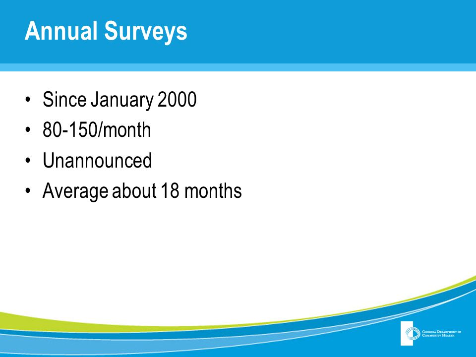 Annual Surveys Since January 2000 80-150/month Unannounced