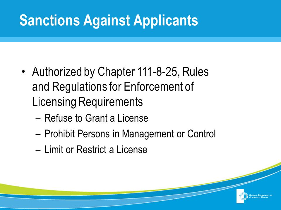 Sanctions Against Applicants