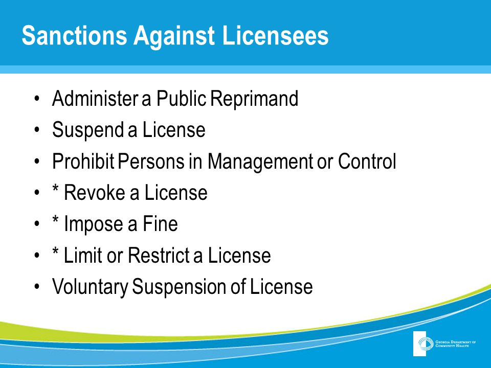 Sanctions Against Licensees
