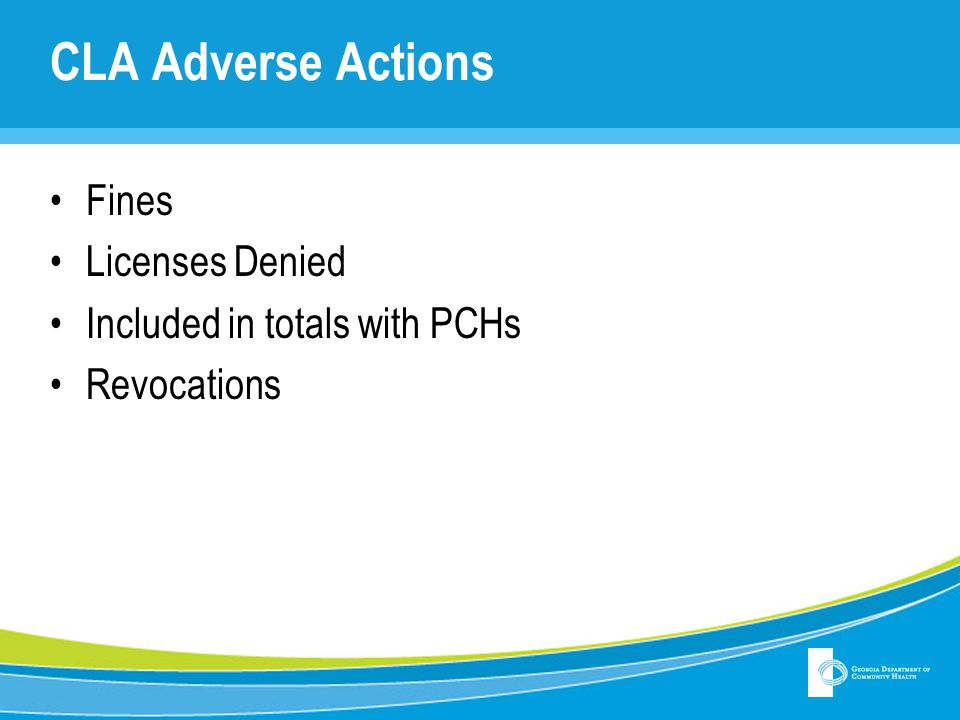 CLA Adverse Actions Fines Licenses Denied Included in totals with PCHs