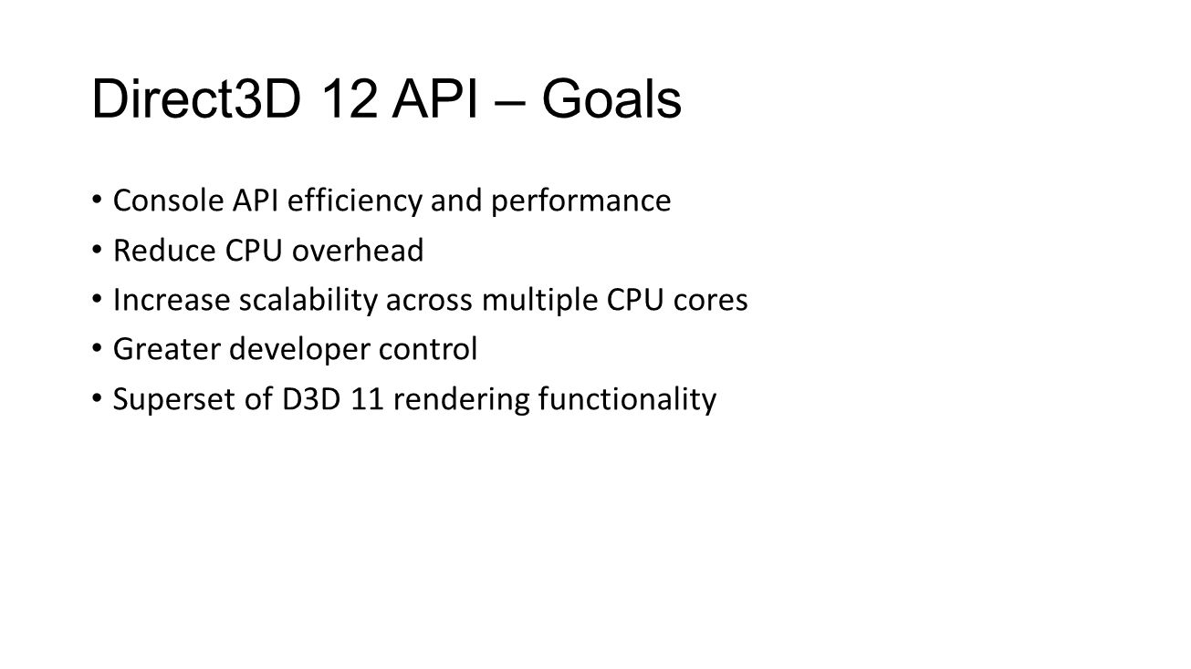 Direct3D 12 API – Goals Console API efficiency and performance